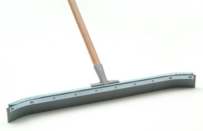 "Laitner Curved Floor Squeegee with 1-1/8""x54"" Tapered Wooden Handle"