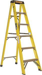 Michigan Ladder Extra Heavy Duty Industrial Fiberglass Step Ladder With Plastic Top