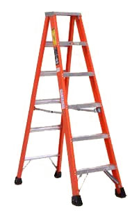 Michigan Ladder Extra Heavy Duty Industrial Fiberglass Step Ladder With Metal Top