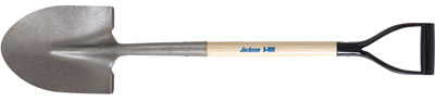 Jackson J-100 Round Point Shovel with Forward-turned Step and Poly D-grip
