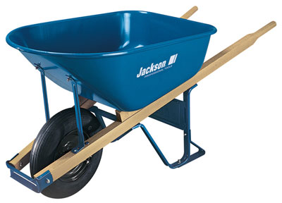 Jackson 6 cubic foot Steel Contractor Wheelbarrow with Knobby Flat Free Tire