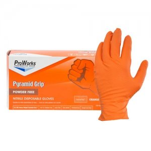 NuTrend Proworks Gloves 6.5mil Orange Powder Free