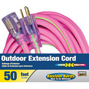 Voltec Extention Cord 50ft. Pink/Lime 12/3 w/Lighted Ends