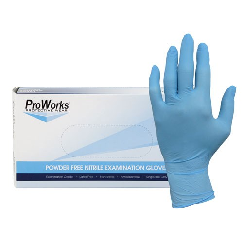 NuTrend Proworks Nitrile Gloves 5mil Blue Powder Free