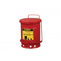Justrite Oily Waste Can, 6 Gallon Foot-Operated